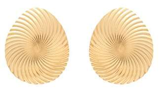 Wouters & Hendrix Women's Gold Plated Sterling Silver Shell Dome Stud Earrings