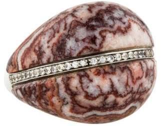 Kara Ross Zebra Jasper & Sapphire Deco Ring