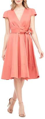 Gal Meets Glam Cap-Sleeve Stretch-Cotton Wrap Dress
