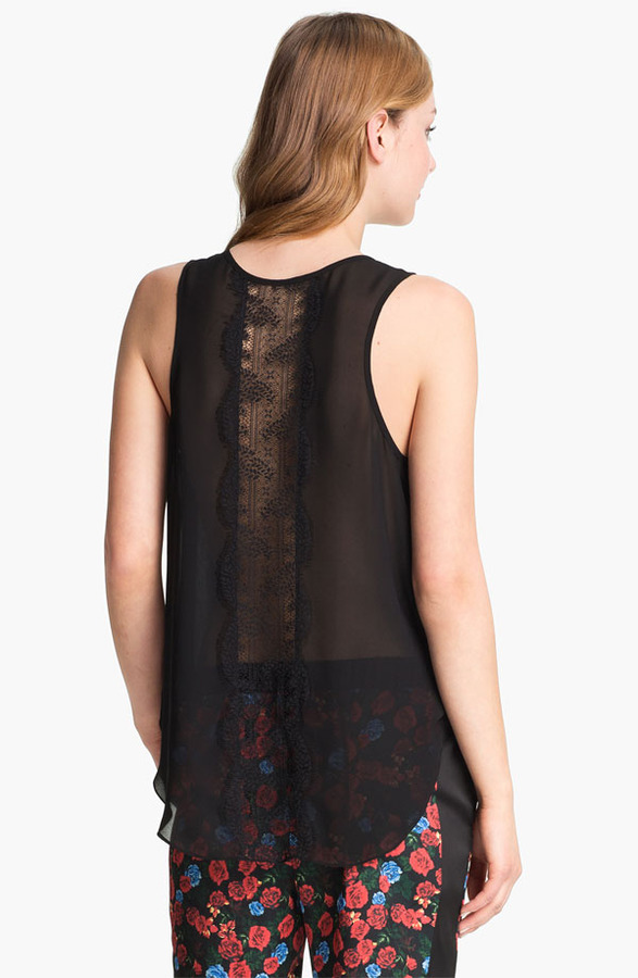 Vince Camuto Back Lace Panel Tank Rich Black Small Regular
