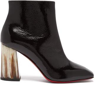 Christian Louboutin Hilconico 85 Horn Heel Patent Leather Boots - Womens - Black