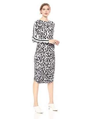 Norma Kamali Women's Side Stripe Long Sleeve Shirred Dress