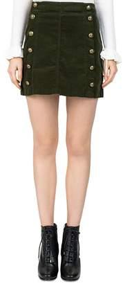 The Kooples Button-Detail Velvet Skirt
