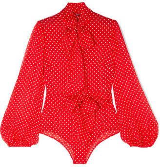 Agent Provocateur Pennie Pussy-bow Polka-dot Stretch-silk Chiffon Bodysuit - Red