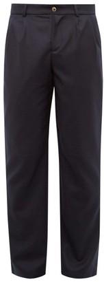 De Bonne Facture - Wool Twill Straight Leg Trousers - Mens - Navy