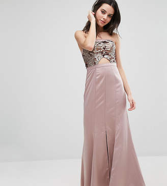 True Decadence Petite Bandeau Maxi Dress With Cutout Bodice And Train Detail