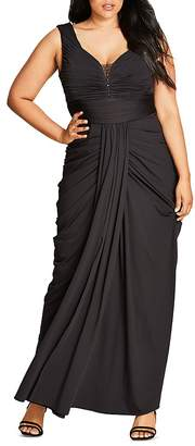 City Chic Ruched Maxi Dress $169 thestylecure.com