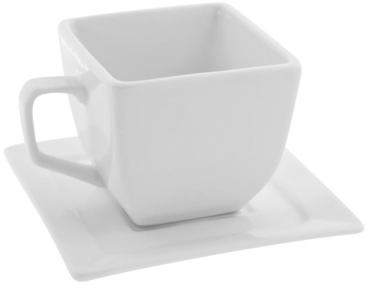 10 Strawberry Street Whittier Set of 4 Square Cup/Saucer - White