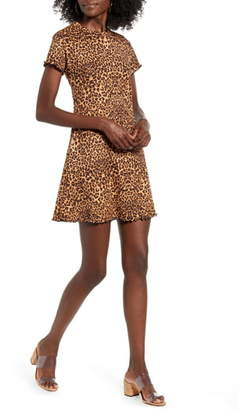 GOOD LUCK GEM Leopard Print Rib Minidress