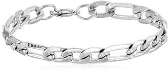 Men's Steel time Stainless Steel Accented Figaro Chain Link Bracelet