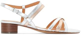 Anne Weyburn Two-Tone Leather Mid-Heel Sandals
