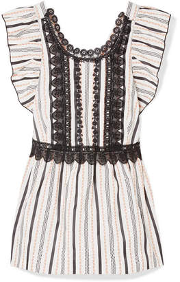 Anna Sui Guipure Lace-trimmed Jacquard Top