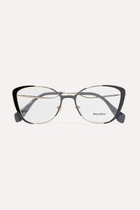 Miu Miu Cat-eye Acetate And Gold-tone Optical Glasses - Black