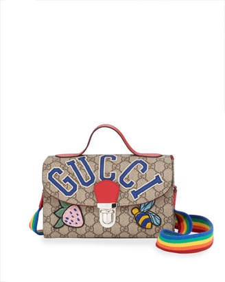 Gucci Girls' GG Supreme Top Handle Shoulder Bag w/ Assorted Logo Patches