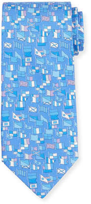 Salvatore Ferragamo Sailboat-Print Silk Tie, Light Purple