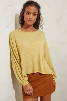 Juniper Blu Thermal Long Sleeve Open Back Top Yellow L
