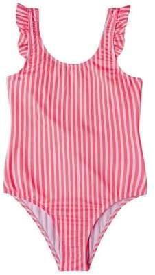 MANGO Ruffle striped swimsuit
