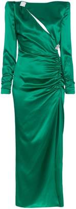 Alessandra Rich Slashed Embellished Silk Gown