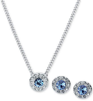 Givenchy Silver-Tone Pave and Blue Stone Pendant Necklace & Stud Earrings Set