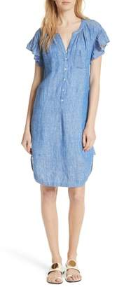 Joie Fermina Ruffle Sleeve Linen Dress