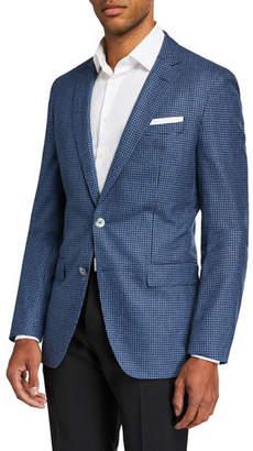BOSS Men's Slim Fit Soft Wool-Cotton Houndstooth Sport Jacket