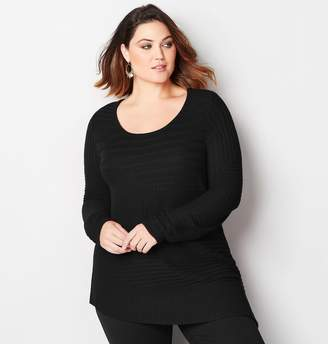 Avenue Plus Size Ribbed Asymmetrical Sweater