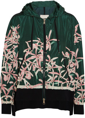 Moncler - Comte Hooded Floral-print Shell Jacket - Green $1,355 thestylecure.com