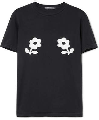 ALEXACHUNG Printed Cotton-jersey T-shirt - Black