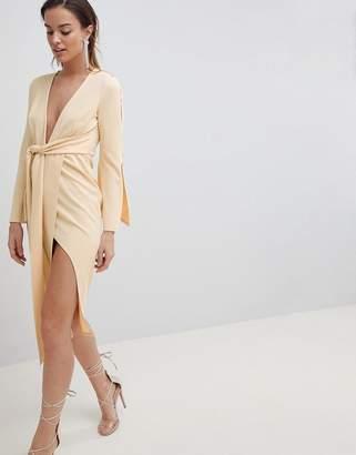 Asos Design DESIGN kimono button plunge midi dress