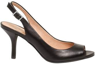 Le Château Women's Leather Peep Toe Slingback Sandal