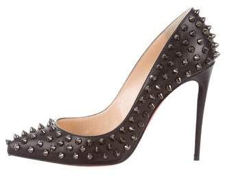 Christian Louboutin Leather Follies Spikes 100 Pumps