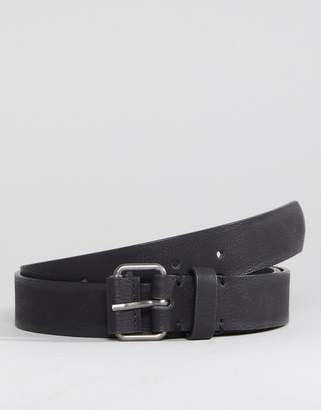 Asos DESIGN Slim Belt In Black Faux Leather With Covered Roller Buckle