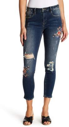 Miss Me Embroidered Distressed Skinny Ankle Jeans