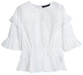 Walter W118 By Baker Marina Ruffled Embroidered Cotton-Gauze Blouse