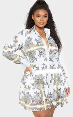 PrettyLittleThing Plus White Paisley Print Pleated Skirt Shirt Dress