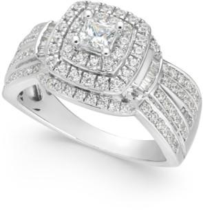 Macy's Diamond Princess Halo Cluster Ring (1 ct. t.w.) in 14k White Gold
