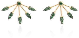 Pamela Love green diamond five spike earrings