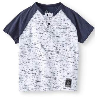 SWISS CROSS Short Sleeve Two Color Marled Jersey Henley Tee With Front Pocket (Little Boys)