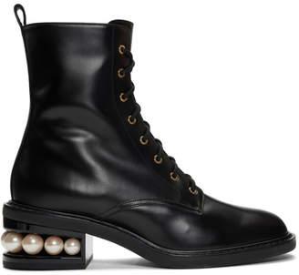 Nicholas Kirkwood Black Casati Pearl 35mm Combat Boots