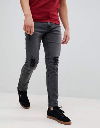 ONLY & SONS Skinny Fit Jeans With Rips And Zip Ankle