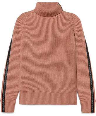 Bottega Veneta Intrecciato Leather-trimmed Cotton-blend Turtleneck Sweater - Blush