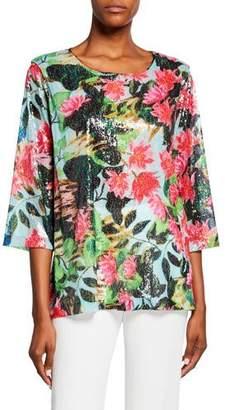 Caroline Rose Lush Life Sequined Scoop-Neck 3/4-Sleeve Easy Tunic