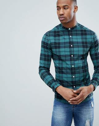 Asos Design DESIGN skinny check shirt with grandad collar