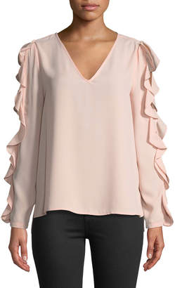 1 STATE 1.State Ruffled Cole-Shoulder Blouse