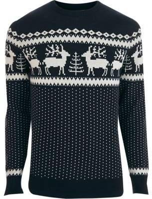 River Island Jack and Jones Premium navy Christmas sweater