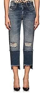 Dolce & Gabbana Women's Logo Distressed Crop Jeans - Blue
