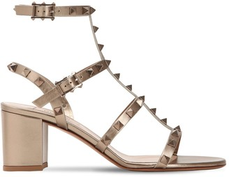 Valentino 60mm Rockstud Metallic Leather Sandals