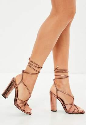 Missguided Bronze Multi Strap Block Heel Croc Effect Sandal