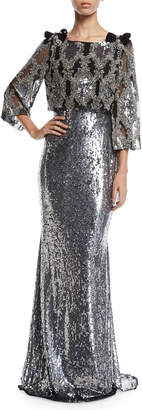 Badgley Mischka Allover Beaded Popover Paillette Evening Gown w/ Bow Details