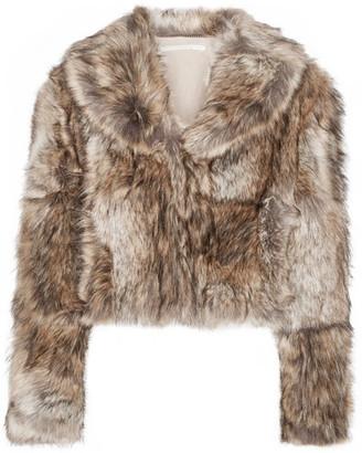 Masha Cropped Faux Fur Coat - Light brown